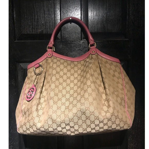 539755b4371a Gucci Bags | Large Sukey Tan Blush Canvas Tote Handbag | Poshmark